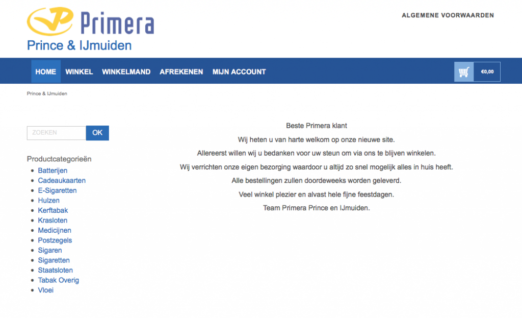 Primera IJmuiden website