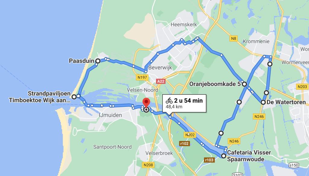 Fietsroute 48 kilometer